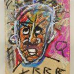Attributed to Jean-Michel Basquiat (1960-1988), oil stick on cardboard