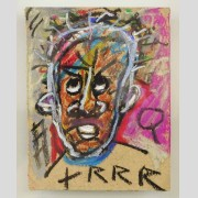 Attributed to Jean-Michel Basquiat (1960-1988), oil stick on cardboard
