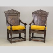 Pair early Jacobean carved paneled armchairs