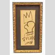 "Attributed to Jean-Michel Basquiat (1960-1988), crown and boxing glove ""SUGAR / JMB"". Oil stick on construction paper"