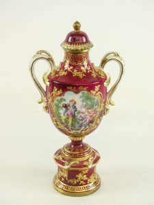 Vase, 2 handles, with lid. Probably, French 19th C. Old Paris
