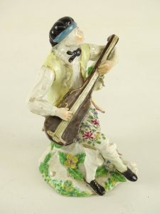 Figure,Troubadour, porcelain, in colors