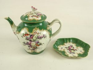 Antique Porcelain Teapot & Stand
