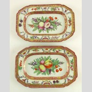 2 Platters, en suite, fruit and butterfly decorated. Possibly Worcester