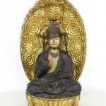 Japanese Wood and Metal Buddha Figure