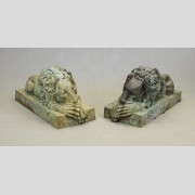 Pair Bronze Reclining Lions