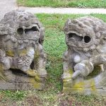Pair 18th c. Carved Stone Foo Dogs