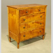 19th c. Tiger Maple Chest of Drawers