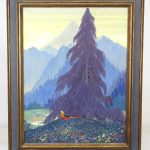 Painting: Jessie Hazel Arms Botke (1883-1971), landscape with pheasant.