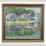 Painting: John Weis (1892-1962), harborscape