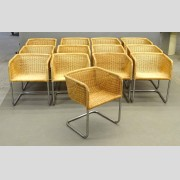 Set of Wicker and Chrome Chairs