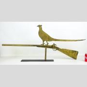 Pheasant on shotgun weathervane