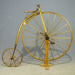 Early blacksmith made wooden frame high wheel bicycle