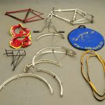 """Lot: 21"""" Raleigh Grand Prix frame, 25"""" Peugot Inoxydable frame set (serial #""""112270""""), misc. parts"""
