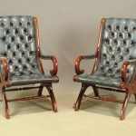 Pair Leather & Mahogany Chairs